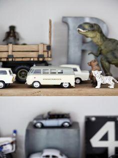 great shelf toys for boys room!