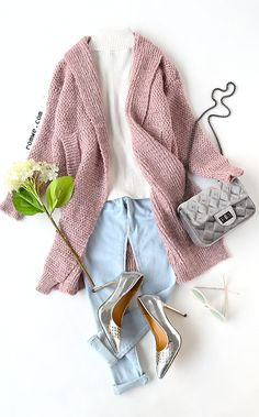 Pink Shawl Collar Drop Shoulder Long Sweater Coat with white high neck sweater and blue denim jeans from romwe.com