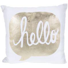 White & Gold Hello Pillow