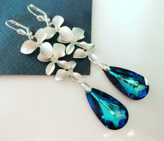 Blue Earrings Peacock BERMUDA Blue Silver ORCHID Wedding Bridal Prom | Vivian-Feiler-Designs - Jewelry on ArtFire