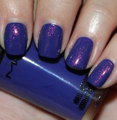 MAC Breezy Blue with CND Crimson Sparkle via Polish Insomniac/kelly K