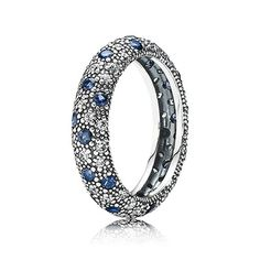 Embodying a modern spin on the traditional, the stylish ring has a fashionable look from the mix of clear and midnight blue stones. $125 #PANDORA #PANDORAring