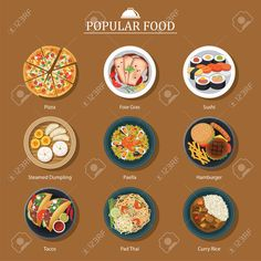 of Popular Food - EPS 10 vector files.Fully editable, customize and resizeSet of Popular Food - EPS 10 vector files.Fully editable, customize and resize Popular Recipes, Popular Food, Food Art Painting, Steamed Dumplings, Food Cartoon, Beautiful Soup, Food Photography Tips, Food Icons, Food Drawing