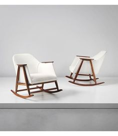 "Rocking chairs,  Gianfranco Frattini 1958 each 27- 1/2"" wx26-3/4 d x 33-1/8"" h  PHILLIPS : Design auction, London 24 September 2014 #354"