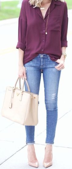 Classic shirt with jeans that can be dressed up or down with shoes and accessories.