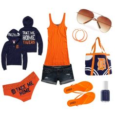 Detroit Tigers by mrsc6411 on Polyvore featuring Victoria's Secret, Vince, Abercrombie & Fitch, Tkees, Tailgate, MANGO, Essie and detroit tigers