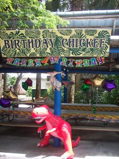 The blow up dinosaurs were a hit with the kids and also became a party favor for them to bring home.