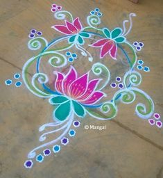 Chalk Drawings Sidewalk Discover Margazhi Month Kolam Spiritual and Scientific reasons behind that! Free Hand Rangoli Design, Rangoli Border Designs, Small Rangoli Design, Colorful Rangoli Designs, Rangoli Designs Images, Beautiful Rangoli Designs, Lotus Rangoli, Chalk Design, Rangoli Ideas