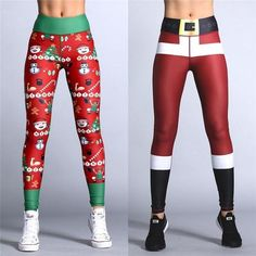 cd7813bbab57b 2018 New Year Christmas Printing Leggings Put Hip Elastic Waist Legging  Breathable Merry Christmas Pants Womens