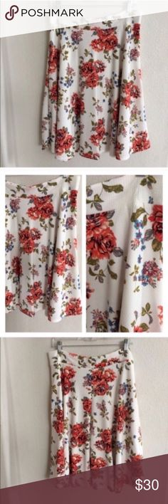 "White floral midi skirt White skirt. Elastic waistband. 95% polyester/ 5% spandex. Very soft! Not sheer. Textured look and feel.  W = waistband measurement (unstretched- stretched comfortably).  3x: L: 26"" W: 36-44"" ⭐️This item is brand new without tags 💲Price is firm unless bundled ✅Bundle offers Availability: 3x • 1 Skirts Midi"