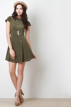 Vegan Suede Princess Seams Short Sleeved Skater Dress