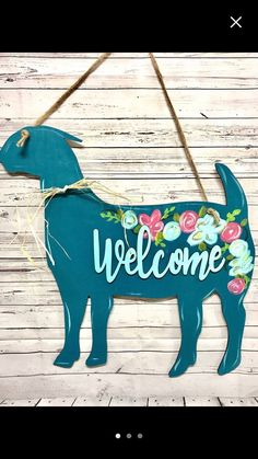 Goat with flowers door hanger