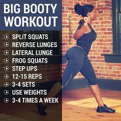 BIG BOOTY WORKOUT...VIA BodyNomics on Facebook https://www.facebook.com/Bodynomics   Check her out or follow examples of these exercise routines posted on this board