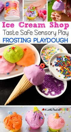 Ice Cream Playdough made with Frosting: A taste safe sensory play idea for kids of all ages (Summer, kids activity)