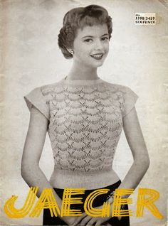 Jaeger lace jumper knitting pattern 1950s