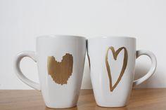 Simple white mug + gold metallic Sharpie. Perfect.