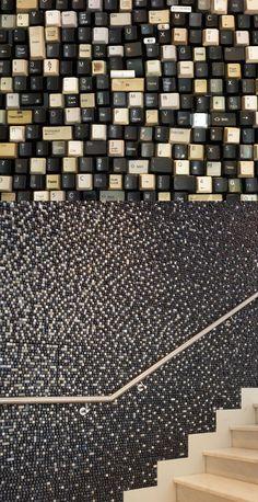 Sarah Frost - Discarded keyboard keys, custom-created piece for The James hotel lobby