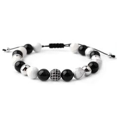 Black White Natural Agate Stone Bead with Round Micro Zircon Pave Metal Bead Rope Braided Extended Fashion Women Men Bracelets