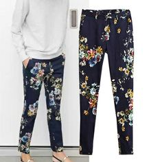 2014 spring and summer fashion flower print blue western-style trousers casual pants women  Pants  Capris $29.00