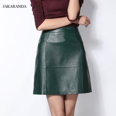 Jas1702 Весна Для женщин новый 100% Пояса из натуральной кожи короткая юбка дамы A Line Midi талии Дизайн тонкие бедра бюст на молнии Faldas Mujerкупить в магазине Baa&Moo StoreнаAliExpress