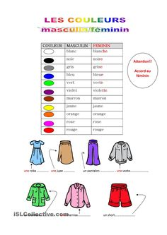 French Language Lessons, French Lessons, How To Speak French, Learn French, Les Adjectifs Possessifs, French Adjectives, French Worksheets, French Colors, French Outfit