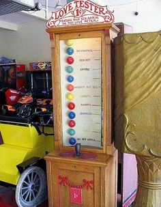 """The Salem Willows arcade offers antique coin-operated machines, such as this """"Love Tester"""" (yes, it actually costs a penny), as well as contemporary video games."""