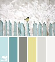Peaceful Tones: Sky Blue, Agate Blue, Greenish Gray, Canary Yellow and Tan. Backyard color scheme? Left to right similar Annie Sloan chalk paint colors: duck egg, provence, french linen, cream, paris grey, old white