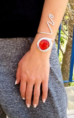 red stone bracelet, silver wire wrapped bracelet, statement bracelet, adjustable bracelet, open bracelet, wedding bracelet, charm bracelet.