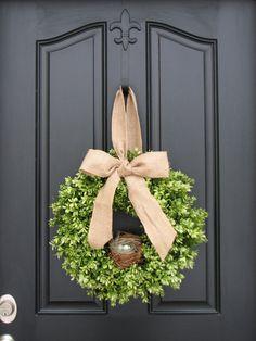 Spring Decor - Burlap Bow - Boxwood Wreath - Door Wreaths - Bird's Nest - Robin's Eggs - Easter Decor - Easter Wreath