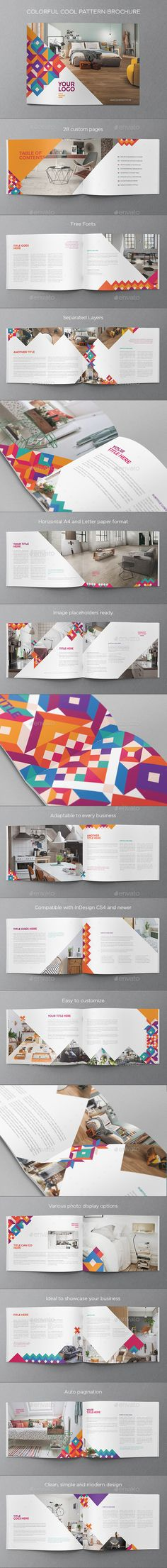 Colorful Cool Pattern Brochure — InDesign INDD #colorful #flexible • Available here → https://graphicriver.net/item/colorful-cool-pattern-brochure/12862171?ref=pxcr
