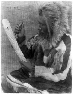 The ivory carver--Nunivak. Date Created/Published: c1929 February 28. Photograph by Edward S. Curtis, Curtis (Edward S.) Collection, Library of Congress Prints and Photographs Division Washington, D.C. Photo by Add this to feed