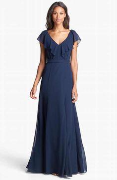 937bdbfe8a Jenny Yoo  Cecilia  Ruffled V-Neck Chiffon Long Dress (Online Only)