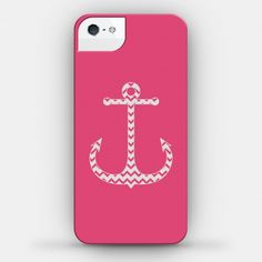 Chevron Anchor Case (Pink and White) #iphone #case #design #trendy #girly #pink #sorority #nautical #anchor #chevron