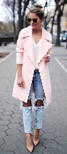 #Summer #Outfits / Pink Coat + Ripped Jeans