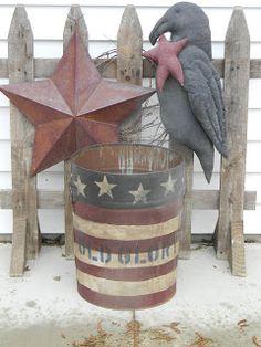 "Farm Field Primitives: ""New"" Primitive Goodies & Some Spring Flowers Americana Crafts, Patriotic Crafts, Country Crafts, July Crafts, Patriotic Decorations, Primitive Crafts, Country Primitive, Summer Crafts, Patriotic Wreath"