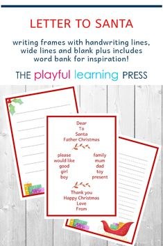 Writing frames for kids to complete their letter to Santa. Versions with handwriting lines, wide lines and no lines. Also includes a word bank for inspiration. Toddler Learning Activities, Play Based Learning, Learning Through Play, Toddler Preschool, Handwriting Lines, Presents For Boys, Santa Letter, Play To Learn
