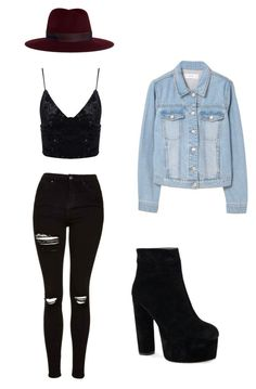 """Cute outfit 😘"" by clair-willow on Polyvore featuring Janessa Leone, Topshop and MANGO"