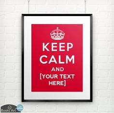 Custom Keep Calm Poster Art print or notecard. 5x7 by BootsArt