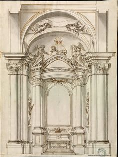 [Proyecto de capilla]. Fontana, Carlo 1638-1714 — Dibujo — 1700