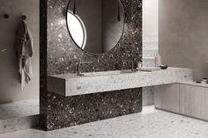 Tendencias de Cerámicos en Coverings 2020 Industrial Chic, Terrazo, Mirror, Bathrooms, Home Decor, Display Stands, Wood Types, Rusted Metal, Round Bathroom Mirror