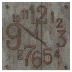 Weathered wall clock with gradient numbers.   Product: ClockConstruction Material: Wood and metalColor: