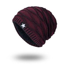59f1dc75120 Men Five Star Warm Plus Velvet Knit Beanie Cap Soft Comfortable Fashion  Beanie Ear Protection Cap