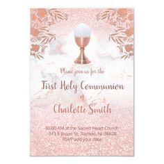 first communion faux pink glitter and rose gold invitation   Zazzle.com