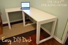 build my own sturdy easy DIY craft desk (table) for cheap.I build my own sturdy easy DIY craft desk (table) for cheap. Computer Desk Organization, Diy Office Desk, Diy Computer Desk, Diy Desk, Organization Ideas, Home Office, Top Computer, Small Office, Diy Crafts Desk