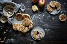 apple pie hotteok | two red bowls