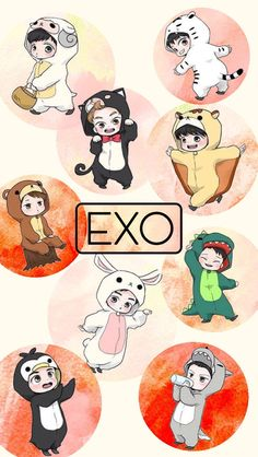 EXO Wallpaper Iph5 Kpop Exo, Exo Chanyeol, Foto Cartoon, Exo Anime, Exo Fan Art, Exo Lockscreen, Kpop Fanart, Exo Members, Cute Wallpapers