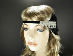 Silver 1920's Headpiece Flapper Headband Great Gatsby Wedding Hair Accessories Costume Black Feather & Rhinestone Beaded Headband on Etsy, $30.00