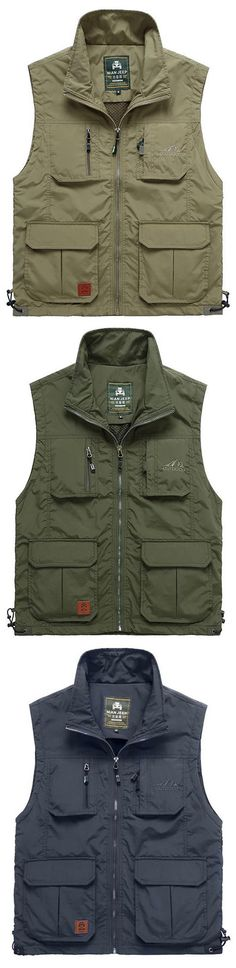 NIANJEEP Military Casual Mutil Pockets Mesh Fishing Vest for Men