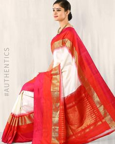 Buy White Indie Picks Handwoven Pochampally Ikat Silk Saree