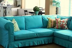 slipcovered couch.  but in yellow?